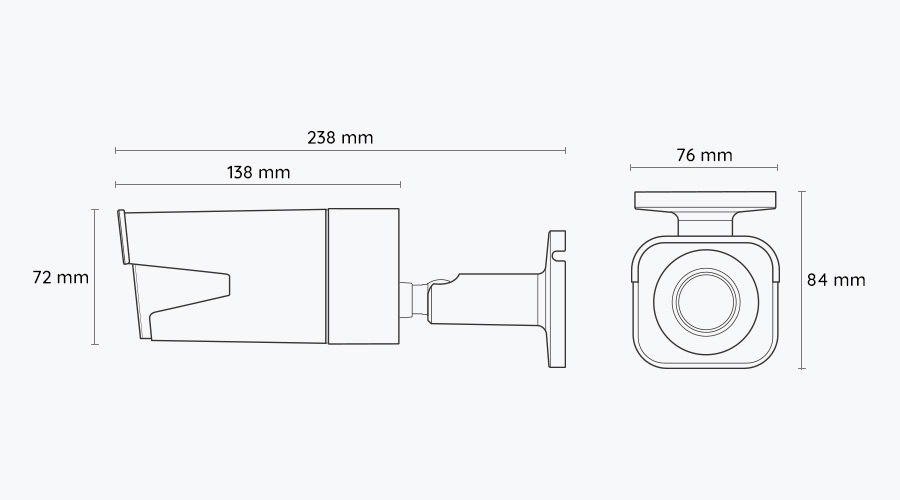 Reolink RLC-511 Bullet PoE IP Kamera - Dimension
