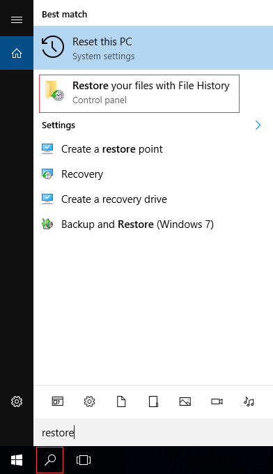 Restore Files with File History