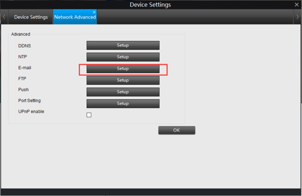 IP Camera Email Settings