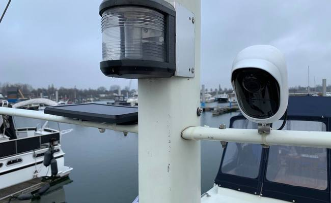 Off Grid Solar Powered Security On Yacht